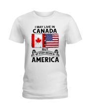 LIVE IN CANADA BEGAN IN AMERICA ROOT WOMEN Ladies T-Shirt thumbnail
