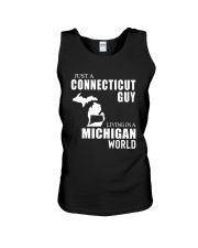 JUST A CONNECTICUT GUY LIVING IN MICHIGAN WORLD Unisex Tank thumbnail