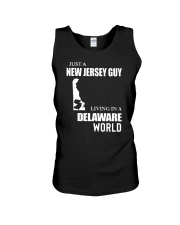 JUST A JERSEY GUY LIVING IN DELAWARE WORLD Unisex Tank thumbnail