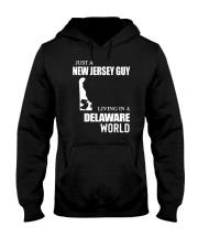 JUST A JERSEY GUY LIVING IN DELAWARE WORLD Hooded Sweatshirt thumbnail