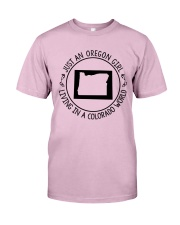 OREGON GIRL LIVING IN COLORADO WORLD Classic T-Shirt thumbnail