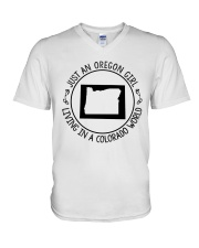 OREGON GIRL LIVING IN COLORADO WORLD V-Neck T-Shirt thumbnail