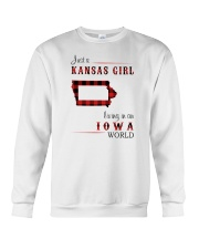 KANSAS GIRL LIVING IN IOWA WORLD Crewneck Sweatshirt thumbnail