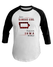 KANSAS GIRL LIVING IN IOWA WORLD Baseball Tee thumbnail