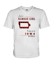 KANSAS GIRL LIVING IN IOWA WORLD V-Neck T-Shirt thumbnail
