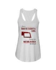 NORTH DAKOTA GIRL LIVING IN NEBRASKA WORLD Ladies Flowy Tank thumbnail