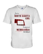 NORTH DAKOTA GIRL LIVING IN NEBRASKA WORLD V-Neck T-Shirt thumbnail