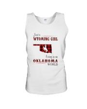 WYOMING GIRL LIVING IN OKALHOMA WORLD Unisex Tank thumbnail