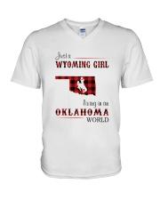 WYOMING GIRL LIVING IN OKALHOMA WORLD V-Neck T-Shirt thumbnail