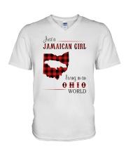 JAMAICAN GIRL LIVING IN OHIO WORLD V-Neck T-Shirt thumbnail