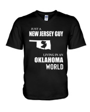 JUST A JERSEY GUY LIVING IN OKLAHOMA WORLD V-Neck T-Shirt thumbnail