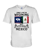 LIVE IN WYOMING BEGAN IN MEXICO V-Neck T-Shirt thumbnail