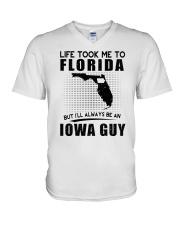 IOWA GUY LIFE TOOK TO FLORIDA V-Neck T-Shirt thumbnail