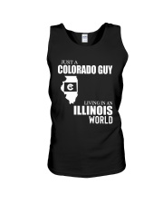 JUST A COLORADO GUY LIVING IN ILLINOIS WORLD Unisex Tank thumbnail