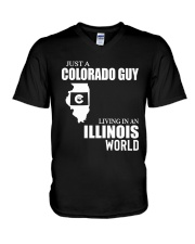 JUST A COLORADO GUY LIVING IN ILLINOIS WORLD V-Neck T-Shirt thumbnail