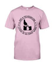 MICHIGAN GIRL LIVING IN IDAHO WORLD Classic T-Shirt thumbnail