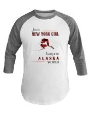 NEW YORK GIRL LIVING IN ALASKA WOLRD Baseball Tee thumbnail