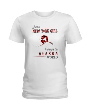 NEW YORK GIRL LIVING IN ALASKA WOLRD Ladies T-Shirt thumbnail