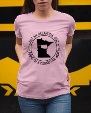 OKLAHOMA GIRL LIVING IN A MINNESOTA WORLD Ladies T-Shirt apparel-ladies-t-shirt-lifestyle-04