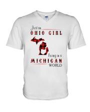 OHIO GIRL LIVING IN MICHIGAN WORLD V-Neck T-Shirt thumbnail