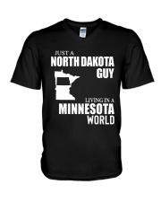 JUST A NORTH DAKOTA GUY LIVING IN MINNESOTA WORLD V-Neck T-Shirt thumbnail