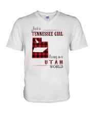 TENNESSEE GIRL LIVING IN UTAH WORLD V-Neck T-Shirt thumbnail