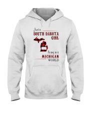 SOUTH DAKOTA GIRL LIVING IN MICHIGAN WORLD Hooded Sweatshirt thumbnail