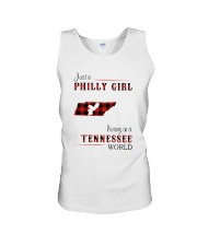 PHILLY GIRL LIVING IN TENNESSEE WORLD Unisex Tank thumbnail