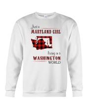 MARYLAND GIRL LIVING IN WASHINGTON WORLD Crewneck Sweatshirt thumbnail