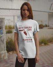 SOUTH CAROLINA GIRL LIVING IN FLORIDA WORLD Classic T-Shirt apparel-classic-tshirt-lifestyle-18