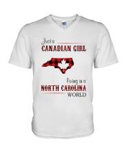 CANADIAN GIRL LIVING IN NORTH CAROLINA WORLD V-Neck T-Shirt thumbnail