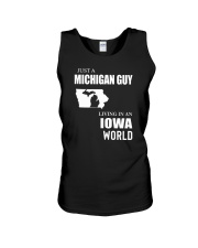 JUST A MICHIGAN GUY LIVING IN IOWA WORLD Unisex Tank thumbnail
