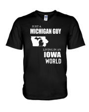 JUST A MICHIGAN GUY LIVING IN IOWA WORLD V-Neck T-Shirt thumbnail