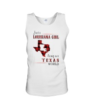 LOUISIANA GIRL LIVING IN TEXAS WORLD Unisex Tank thumbnail