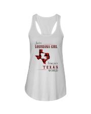 LOUISIANA GIRL LIVING IN TEXAS WORLD Ladies Flowy Tank thumbnail