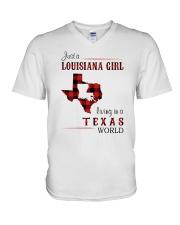 LOUISIANA GIRL LIVING IN TEXAS WORLD V-Neck T-Shirt thumbnail