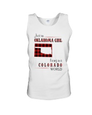OKLAHOMA GIRL LIVING IN COLORADO WORLD Unisex Tank thumbnail