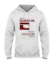 OKLAHOMA GIRL LIVING IN COLORADO WORLD Hooded Sweatshirt thumbnail