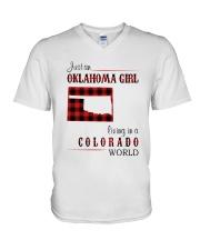 OKLAHOMA GIRL LIVING IN COLORADO WORLD V-Neck T-Shirt thumbnail
