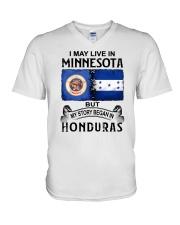 LIVE IN MINNESOTA BEGAN IN HONDURAS V-Neck T-Shirt thumbnail