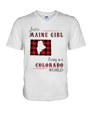 MAINE GIRL LIVING IN COLORADO WORLD V-Neck T-Shirt thumbnail