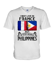 LIVE IN FRANCE BEGAN IN PHILIPPINES V-Neck T-Shirt thumbnail