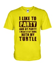 I LIKE TO PARTY WITH MY TURTLE V-Neck T-Shirt thumbnail