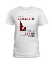 ALASKA GIRL LIVING IN IDAHO WORLD Ladies T-Shirt thumbnail