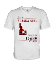 ALASKA GIRL LIVING IN IDAHO WORLD V-Neck T-Shirt thumbnail