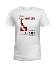 CALIFORNIA GIRL LIVING IN IDAHO WORLD Ladies T-Shirt thumbnail