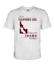 CALIFORNIA GIRL LIVING IN IDAHO WORLD V-Neck T-Shirt thumbnail