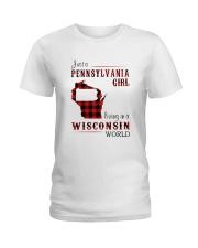 PENNSYLVANIA GIRL LIVING IN WISCONSIN WORLD Ladies T-Shirt thumbnail