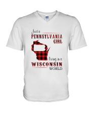 PENNSYLVANIA GIRL LIVING IN WISCONSIN WORLD V-Neck T-Shirt thumbnail