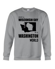 JUST A WISCONSIN GUY IN A WASHINGTON WORLD Crewneck Sweatshirt thumbnail